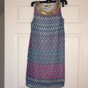 Colorful sundress with gold beaded neck size S